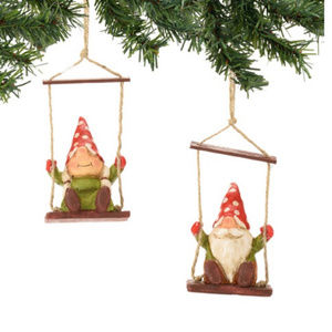 Department 56 Gnomes on Swings Ornament Set of 2